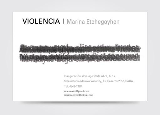 Invitación a muestra de la artista plástica Marina Etchegoyhen. La obra utilizada pertenece a la artista.